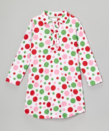 White Polka Dot Nightgown - Girls
