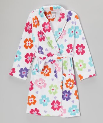 White Flower Fleece Robe - Girls