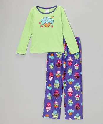 Purple Cupcake Pajama Set - Girls