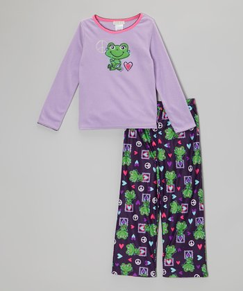 Purple Frog Pajama Set - Girls