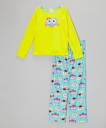 Aqua Owl Pajama Set - Girls