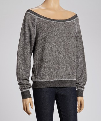 Black French Terry Off-Shoulder Sweatshirt