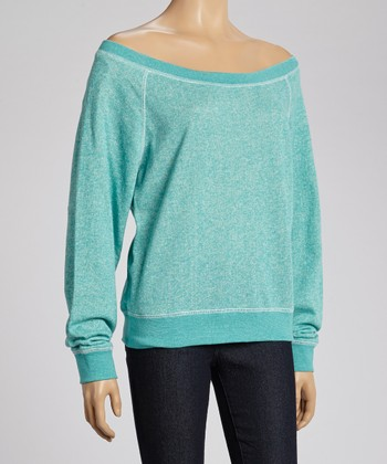 Turquoise French Terry Off-Shoulder Sweatshirt - Women & Plus
