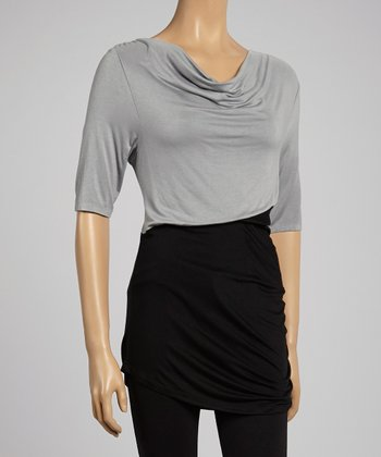 Dove Gray & Black Cowl Neck Top