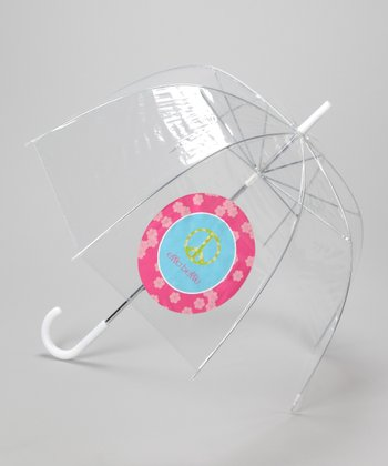 Clear Peace Sign Personalized Umbrella