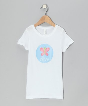 White Butterfly Personalized Tee - Girls