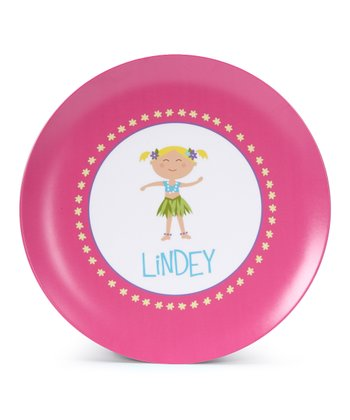 Blonde Hula Girl Personalized Plate