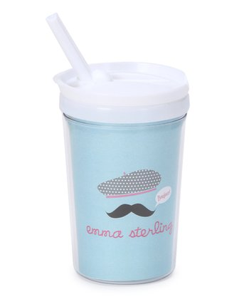 'Bonjour' Mustache Personalized Toddler Cup