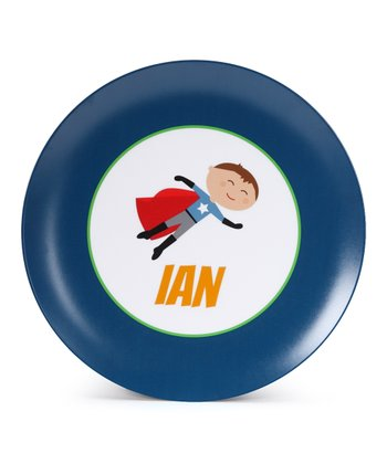 Brown-Haired Super Boy Personalized Plate