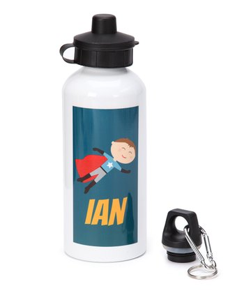 Brown-Haired Super Boy Personalized Water Bottle