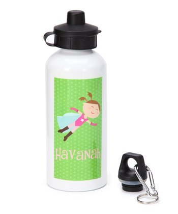 Brown-Haired Super Girl Personalized Water Bottle