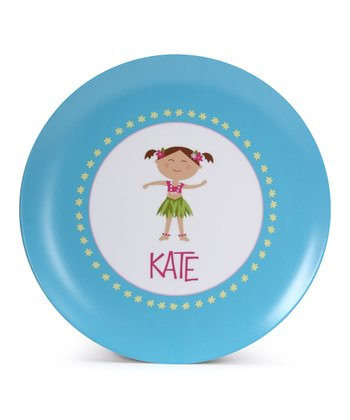 Brown-Haired Hula Girl Personalized Plate
