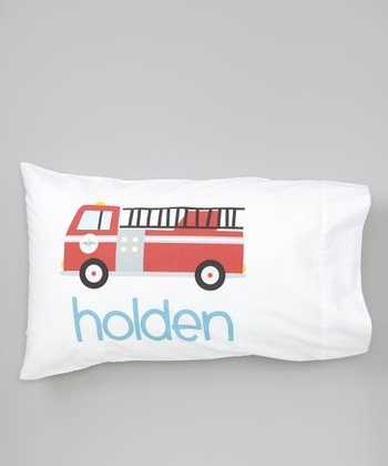 White Fire Truck Personalized Pillowcase