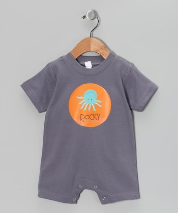 Gray Octopus Personalized Romper - Infant