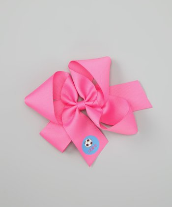 Hot Pink Soccer Small Personalized Bow Clip