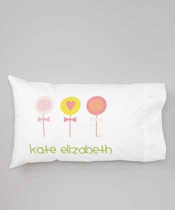 White Lollipop Personalized Pillowcase