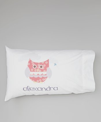 White Owl Personalized Pillowcase