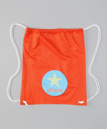 Orange Star Personalized Drawstring Bag