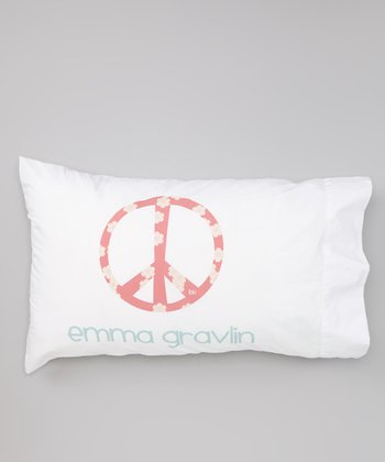 White Peace Sign Personalized Pillowcase