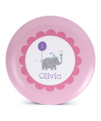 Elephant First Birthday Personalized Plate