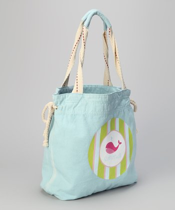 Light Blue Whale Personalized Beach Tote