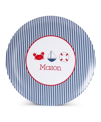 Seersucker Nautical Personalized Plate