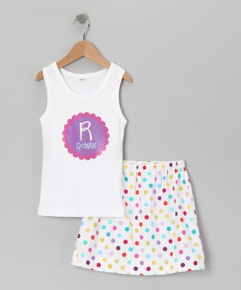 White Personalized Tank & Skirt - Toddler & Girls