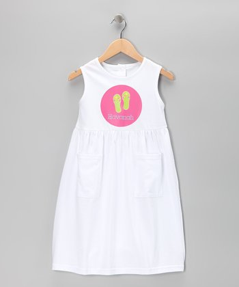 White Flip-Flop Personalized Pocket Dress - Toddler & Girls
