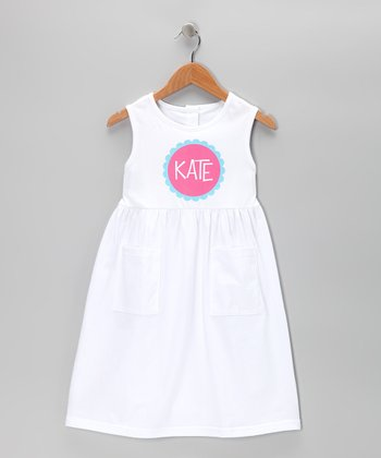 White Personalized Pocket Dress - Toddler & Girls