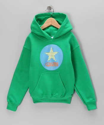 Green Star Personalized Hoodie - Boys