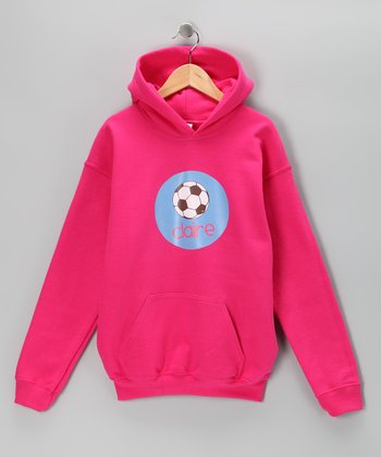 Hot Pink Soccer Personalized Hoodie - Girls