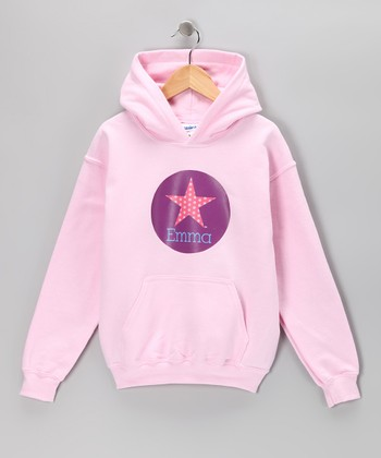 Light Pink Star Personalized Hoodie - Girls