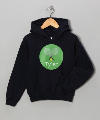 Navy Tennis Personalized Hoodie - Girls