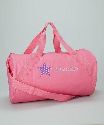 Lima Bean Kids Hot Pink Star Personalized Duffel Bag
