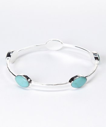 Turquoise & Silver Hammered Bangle
