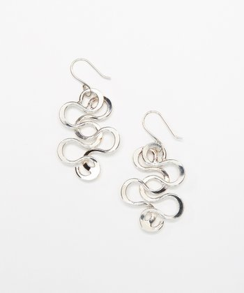 Sterling Silver Curve Link Drop Earrings