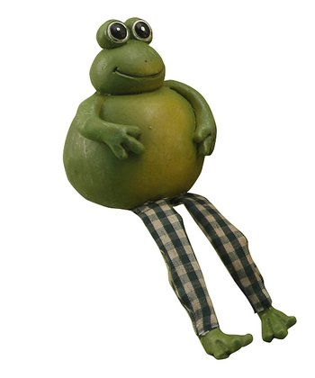 Green Plaid Frog Figurine