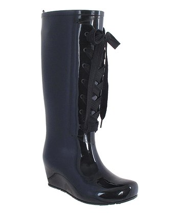 Black Lace-Up Wedge Rain Boot
