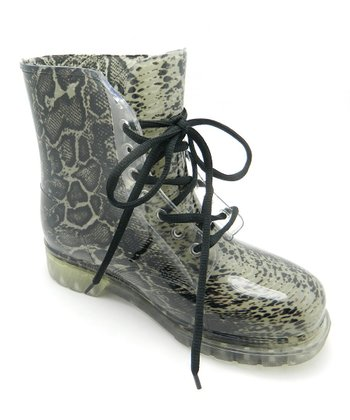 Black & Gray Snake Pattern Rain Boot