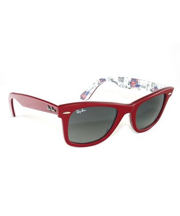 Top Red Texture London Wayfarer Sunglasses