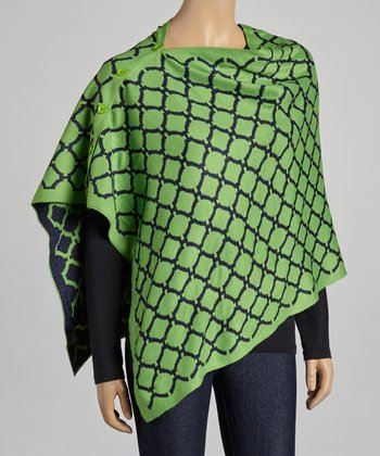 Green & Navy Honeycomb Convertible Cape
