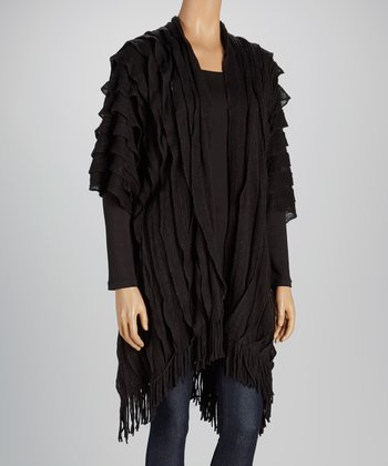 Black Ruffle Metallic Ruana Wrap