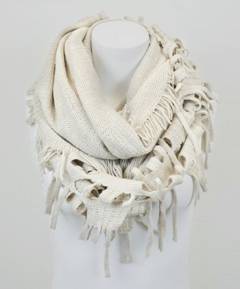 Leto Collection Oatmeal Ragged Tassel Infinity Scarf