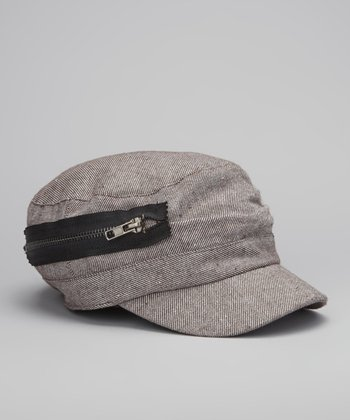 Brown Zipper Trim Linen-Blend Cadet Cap