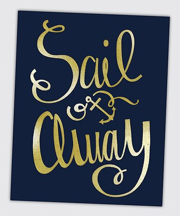 Gold Metallic 'Sail Away' Wall Art