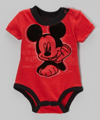 Red & Black Mickey Mouse Bodysuit - Infant
