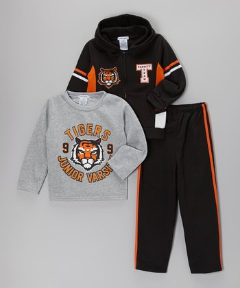 Black 'Tigers' Fleece Zip-Up Hoodie Set - Toddler & Boys