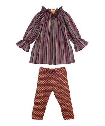 Masala Baby Plum Stripe Medley Tunic & Leggings - Infant
