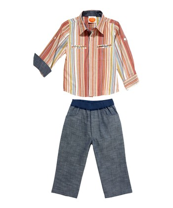 Masala Baby Orange Dandy Stripe Button-Up & Navy Chambray Pants - Infant