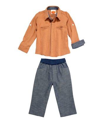 Masala Baby Cinnamon Dandy Button-Up & Navy Chambray Pants - Infant